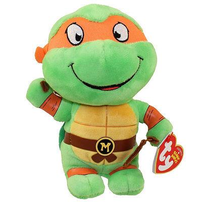 Ty Beanie Baby Teenage Mutant Ninja Turtles MICHELANGELO New Heart Tags MWMT's