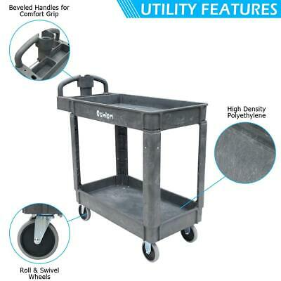 Commercial Products 2-tier Utility Service Cart Small Lipped Shelves Ergonomic H