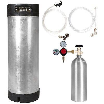 Keg Kit: 5 Gal Ball Lock Used Keg, 5 lb CO2 Tank, Regulator & Parts - SHIPS FREE