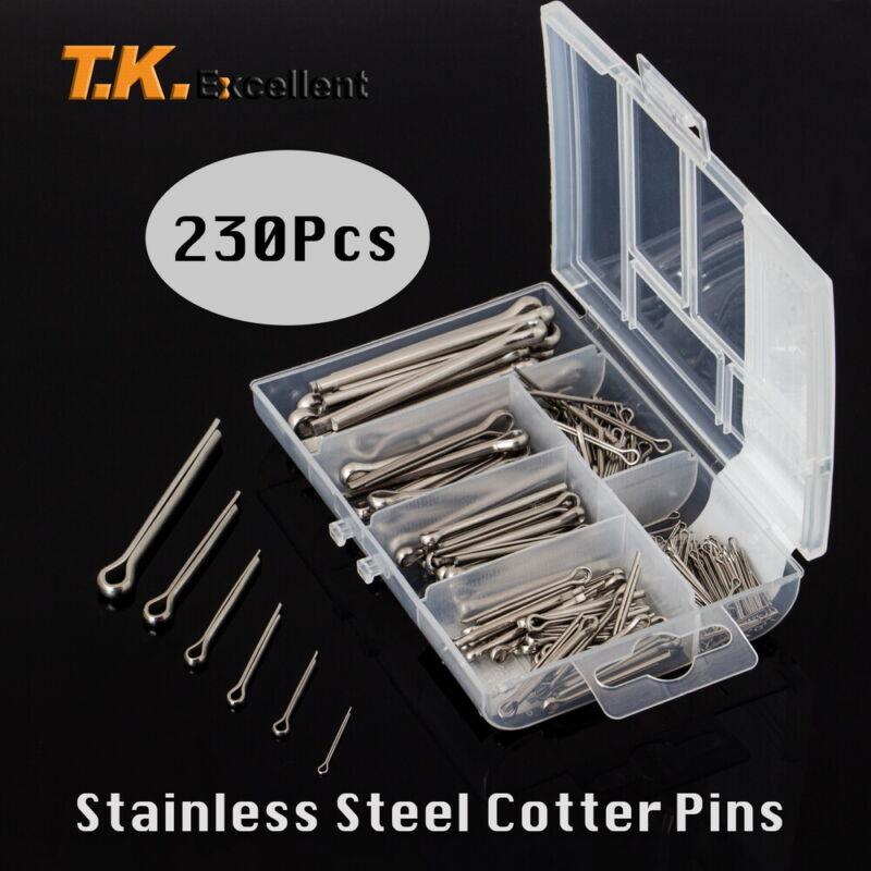 Various sizes 304 Stainless Steel Cotter Pin Assortment Set Value Kit,230 Pcs