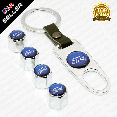 Silver Car Wheel Tyre Tire Valves Dust Stems Air Caps + Keychain Ford Emblem