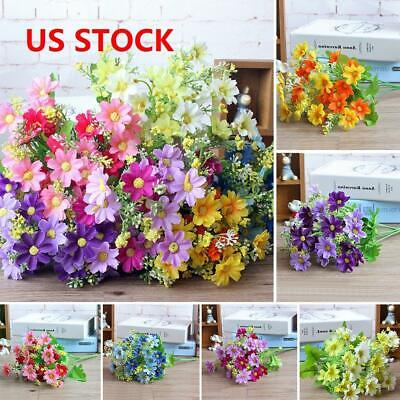 28 Heads Artificial Fake Dais Bouquet Silk Flower Leaf Wedding Party Decors GEMS