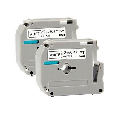 2pk M-k231 Mk231 Fit Brother P-touch M Tape 12mm White Label Maker Pt90 Pt80 Us