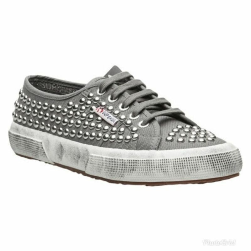 Superga Gray Studded Distressed Canvas Sneakers Size 5.5 Women