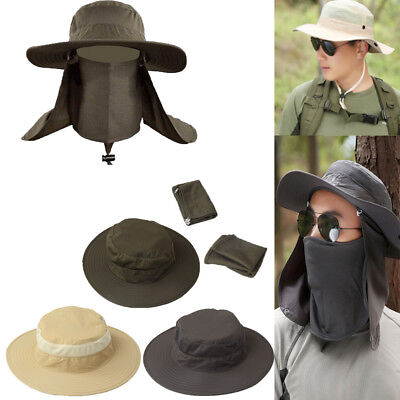Mens Hiking Fishing Hat Outdoor Sport Sun Protection Neck Face Cap Wide -