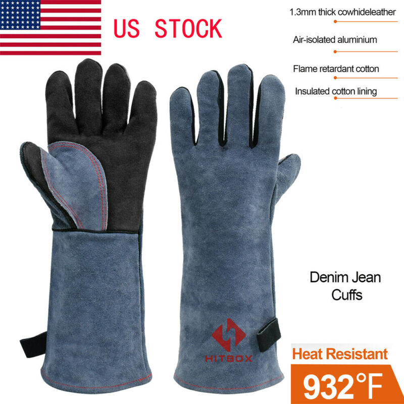 Welding Gloves MIG TIG Fire Resistant Safety Protection Gloves Oven BBQ Glove US