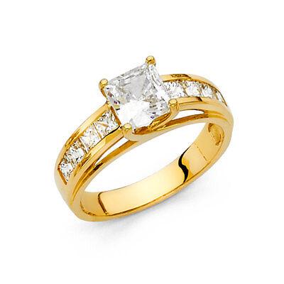 2 CT Princess Cut Diamond Engagement Wedding Ring 14K Yellow Gold Channel Set Princess Cut Engagement Wedding Ring