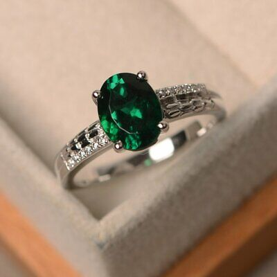 2Ct Oval Cut Green Emerald Solitaire Engagement Ring 14K White Gold Finish (Oval Emerald Solitaire Ring)