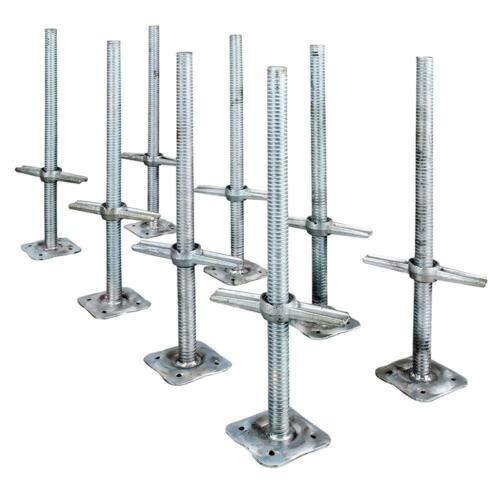 Scaffolding Leveling Jack Steel Plate Base Adjustable Screw 8 Pack MetalTech NEW