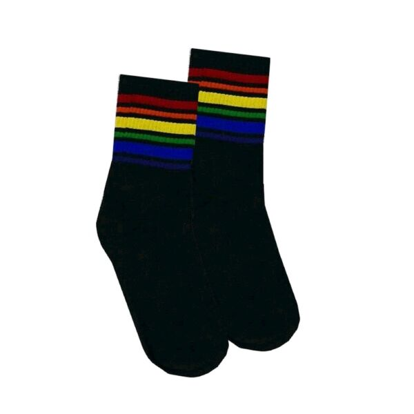 RAINBOW PRIDE Womens Gay LGBT Black Stripe Low Cut Quarter Socks UK 3-6 EU 36-39