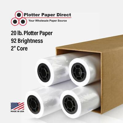 4 Rolls 30 X 150 20lb Bond Plotter Paper For Wide Format Inkjet Printers