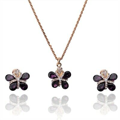 2pcs 14k Gold Filled Garnet Austrian Crystal Flower Necklace Earring Set