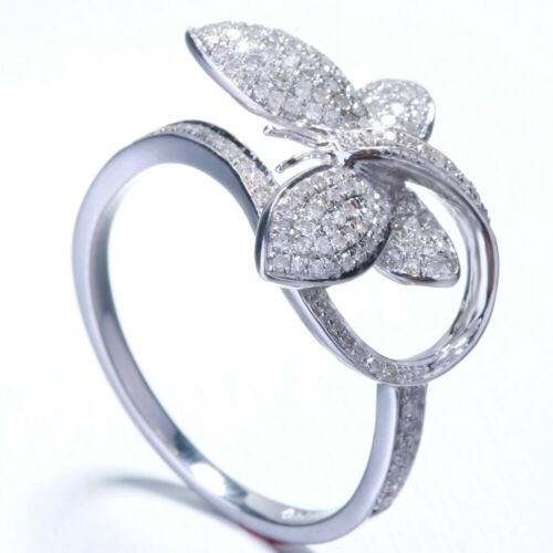 0.45ct Round Cut Diamond Pave Butterfly Shape Ring Engagement 10K White Gold