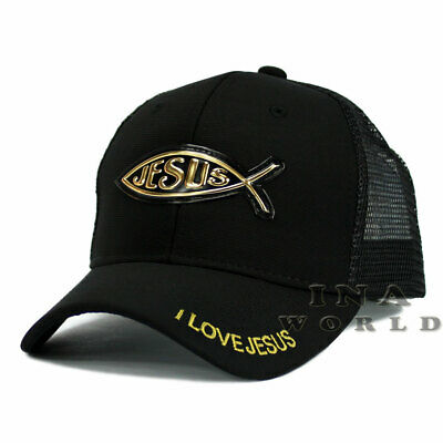 JESUS FISH Christian hat Gold Patched Pique Mesh Snapback Baseball cap- Black