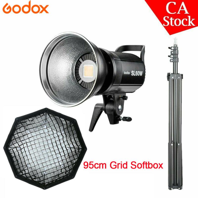US Godox SL-60W White LED Video Light + 95cm Grid Softbox + 2M Light satnd