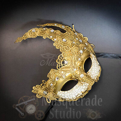 Venetian Goddess Brocade Lace Masquerade Ball Mask with Rhinestones [Gold]