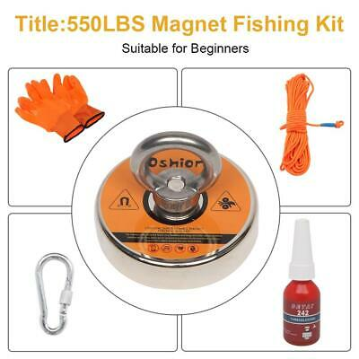 Us 500lbs Super Strong Neodymium Fishing Magnet Kit Power Pulling Force 20m Rope