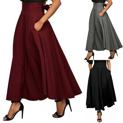 US Women Stretch High Waist Skater Flared Pleated Swing Long Skirt Dress Pockets