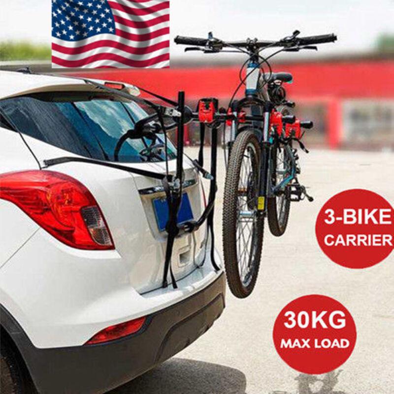 Portable 3-Bicycle Trunk-Mount Bike Carrier Rack Hatchback for SUV & Car Truck