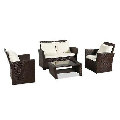 Garden Furniture - Patio Wicker Furniture Outdoor 4 PCS Rattan Sofa Table Garden Conversation Set