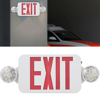 Red Exit Sign Leds Combo Emergency Light Adjustable 2 Head Backup Batterys C8x7