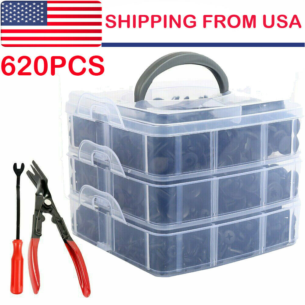 620PCS Car Retainer Clips Fasteners Car Clips Auto Pin Kits W// Plier