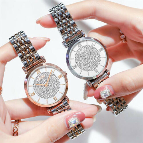 Women Fashion Wristwatch Crystal Diamond Stainless Steel Qua