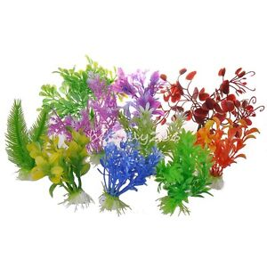 Lot 10pcs Plastic Aquarium Multicolor Plants Fish Tank Grass Ornament Landscape