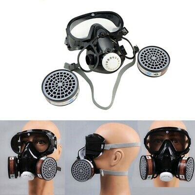 Full Face Respirator Gas Mask Eye Goggles Paint Chemical Anti-dust Facepiece New