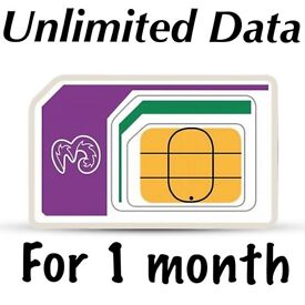 4G three,ee,o2, voda UK unlimited data for 1 month and 9GB in 60+ countries