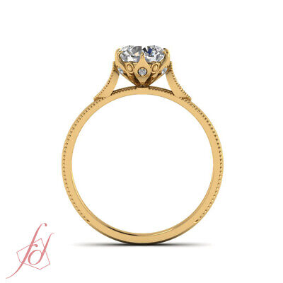 Vintage Style Engagement Ring With 0.65 Ct Round Cut Diamond 18K Yellow Gold GIA 4