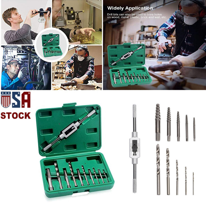 11pcs/Set Damaged Broken Screw Extractor Drill Bit Bolt Stud Remover Tool Kit US