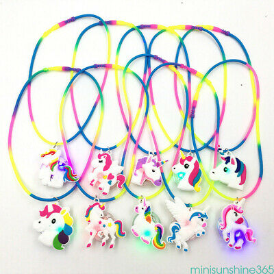 Rainbow Silicone Unicorn LED Light Up Necklace Xmas Party Favors Kids Toy Gifts - Light Up Necklace