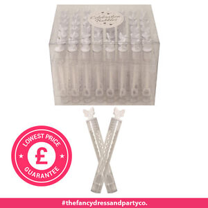 48 White Deluxe 10cm Tube Wand Wedding Butterfly Bubbles Favours Blow Confetti .