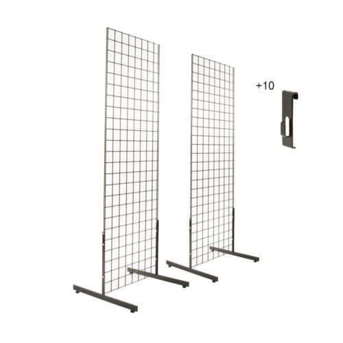 Gridwall panels 2 x4  with T-Leg stands and 10 Utility hooks