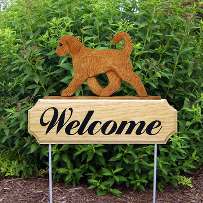 Goldendoodle Wood Welcome Outdoor Sign Apricot