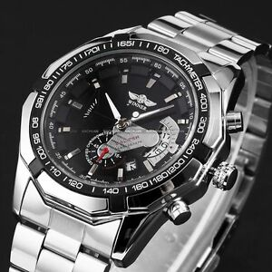 WINNER-Mens-Automatic-Mechanical-2-Colors-Date-Silver-Steel-Wrist-Watch-Cool
