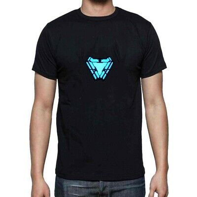 Iron Man 4 Arc Reactor T-Shirt Light Up LED T-Shirt Stark Costume Cosplay Party (Iron Man Black Costume)