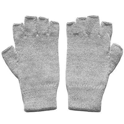 - 100% Alpaca Wool Fingerless Gloves Silver Gray Medium ~ Women Men Accessories