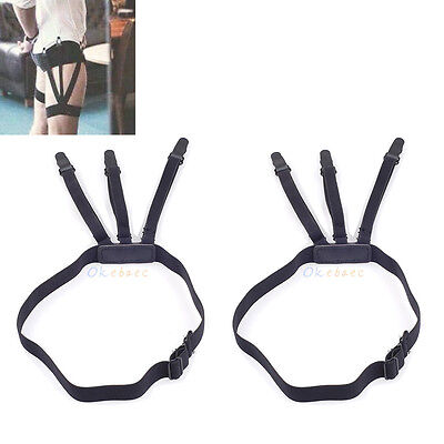 1 Pair Men's Shirt Stays Holders Elastic Garter Belt Suspender w/Locking Clamps