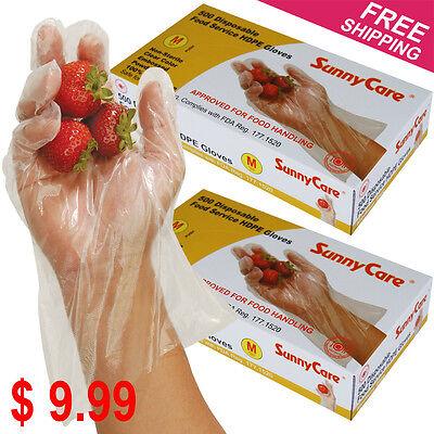 1000 Polyethylene Food Service Disposable Gloves Vinyl Nitrile Latex Free -- M