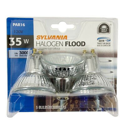 Base Halogen Sylvania Light Bulb - 3pk- Sylvania FMW 35w MR16 GU10 Base Halogen Flood Light Bulb
