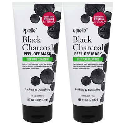 Epielle Purifying Black Charcoal Facial Peel-Off Mask, 6oz (2 pack)
