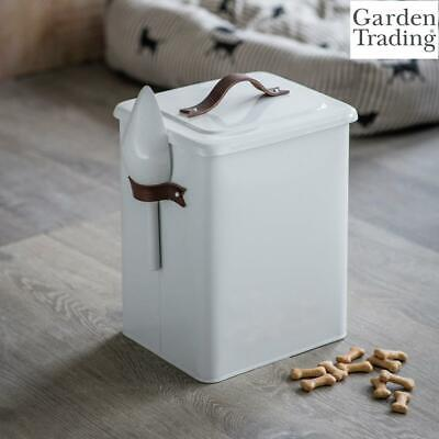 Garden Trading Pet Bin Food Storage, Scoop Leather Handles in Chalk Steel Medium