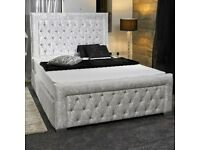 BEST FURNITURE-Double Size Plush Velvet Heaven Bed in grey color-- Frame W Optional Mattress♨
