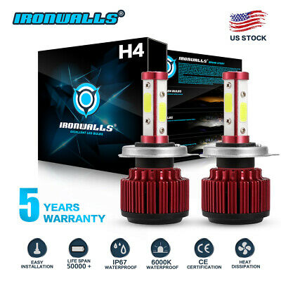 - CREE H4 HB2 9003 2000W 300000LM 4-Sides LED Headlight Kit Hi/Lo Power Bulb 6000K