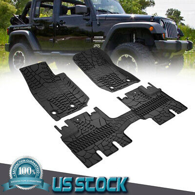 For Jeep Wrangler Unlimited JK 4 Door Black Rubber Slush Floor Mats Best (Best Rubber Doors)