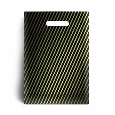 Black and Gold Stripe Plastic Carrier Bags - 15