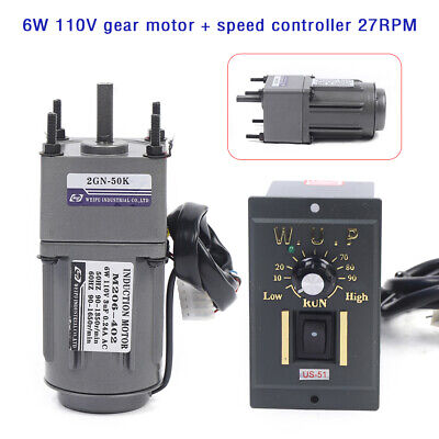 6w Ac110v Gear Motor Electric Motor W Variable Speed Controller 150 27rpmmin