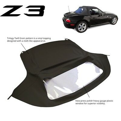 BMW Z3 1996-2002 Convertible Soft Top Replacement & Plastic window Black Twill